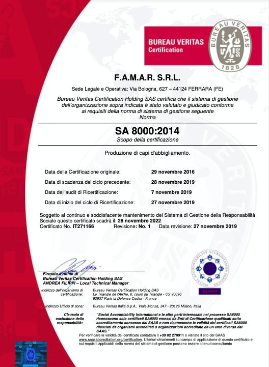 Certificazione Sa8000/2019- Famar Abbigliamento Ferrara